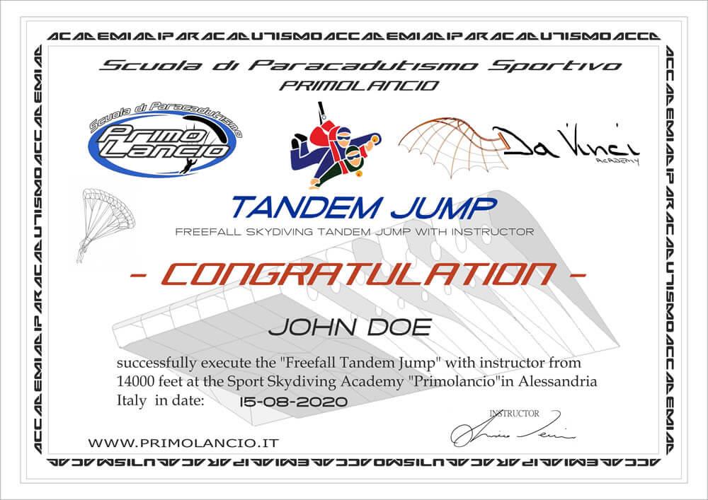 Tandem Jump certificate